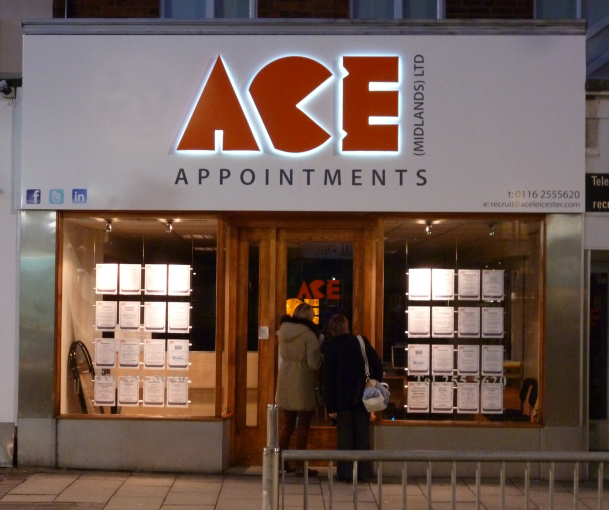 Illuminated sign with halo effect for Ace Appointments