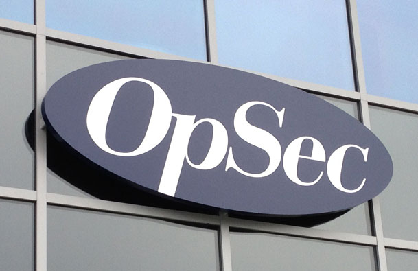 Sign makers fascia sign for OpSec Security