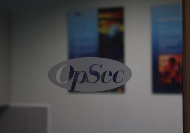 Sign makers window graphics for OpSec