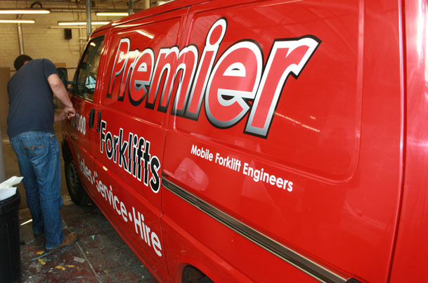 Sign makers vehicle graphics for Premier Forklifts
